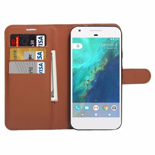 Brown Classic Lychee Leather Wallet Google Pixel XL Case