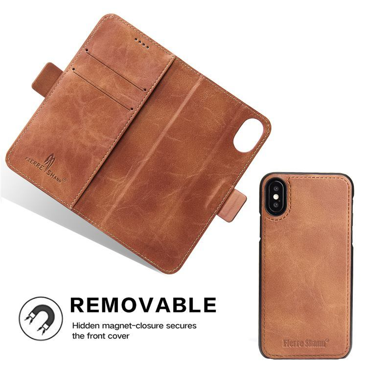 Brown Fierre Shann Detachable Leather Wallet iPhone XS & X Case
