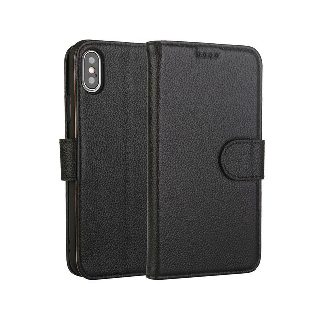 Fashion Black Cowhide Genuine Leather Wallet iPhone XS MAX Case
