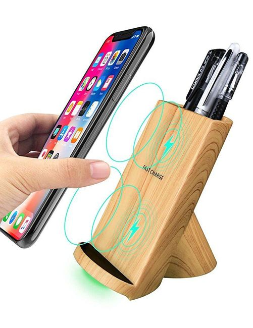 Wooden Texture Fast Wireless Charger iPhone XS & X, XS MAX, XR, iPhone 8/8+, Samsung Galaxy S9,S9+,S8,S8+, Note 9/8