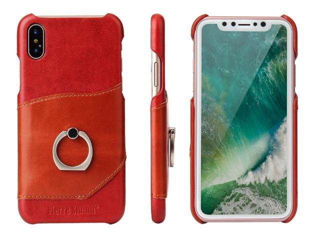 Fierre Shann Red Ring Holder Genuine Leather iPhone XS MAX Case