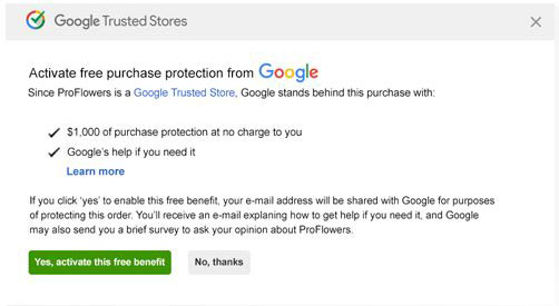 Google Trusted Store Purchase Protection