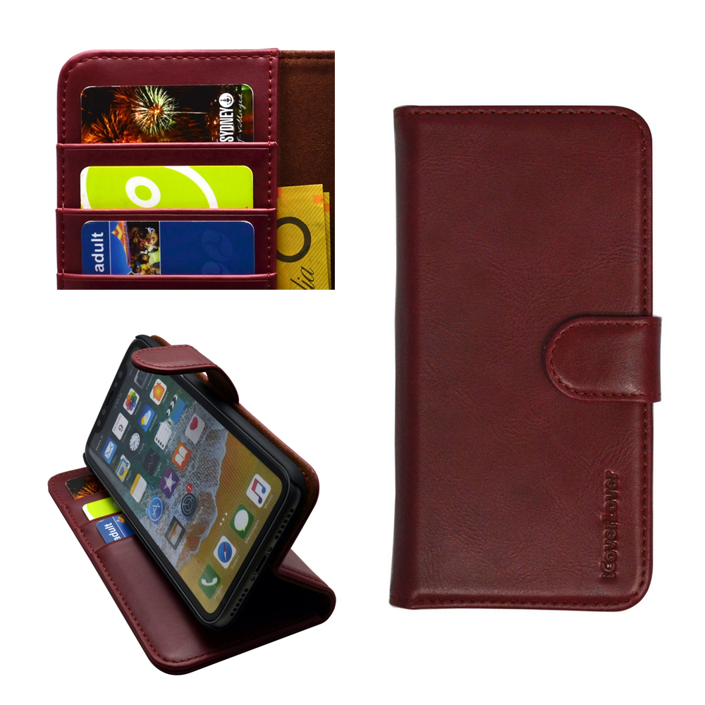 iPhone XS & X Case iCoverLover Reddish Brown Genuine Cow Leather Wallet Folio Case, 3 Card Slots, 1 Cash Compartment