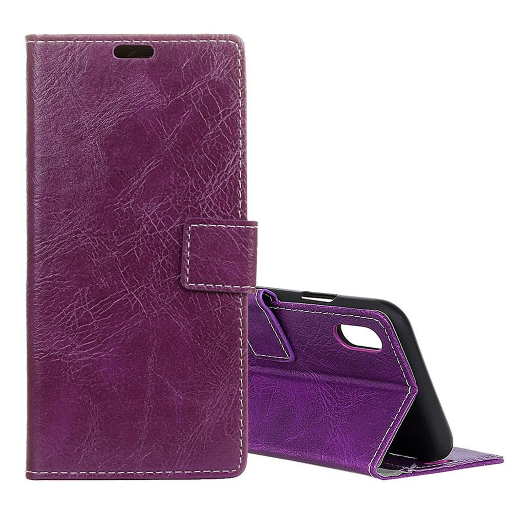 Purple Retro Crazy Horse Texture Leather Wallet iPhone XS MAX Case