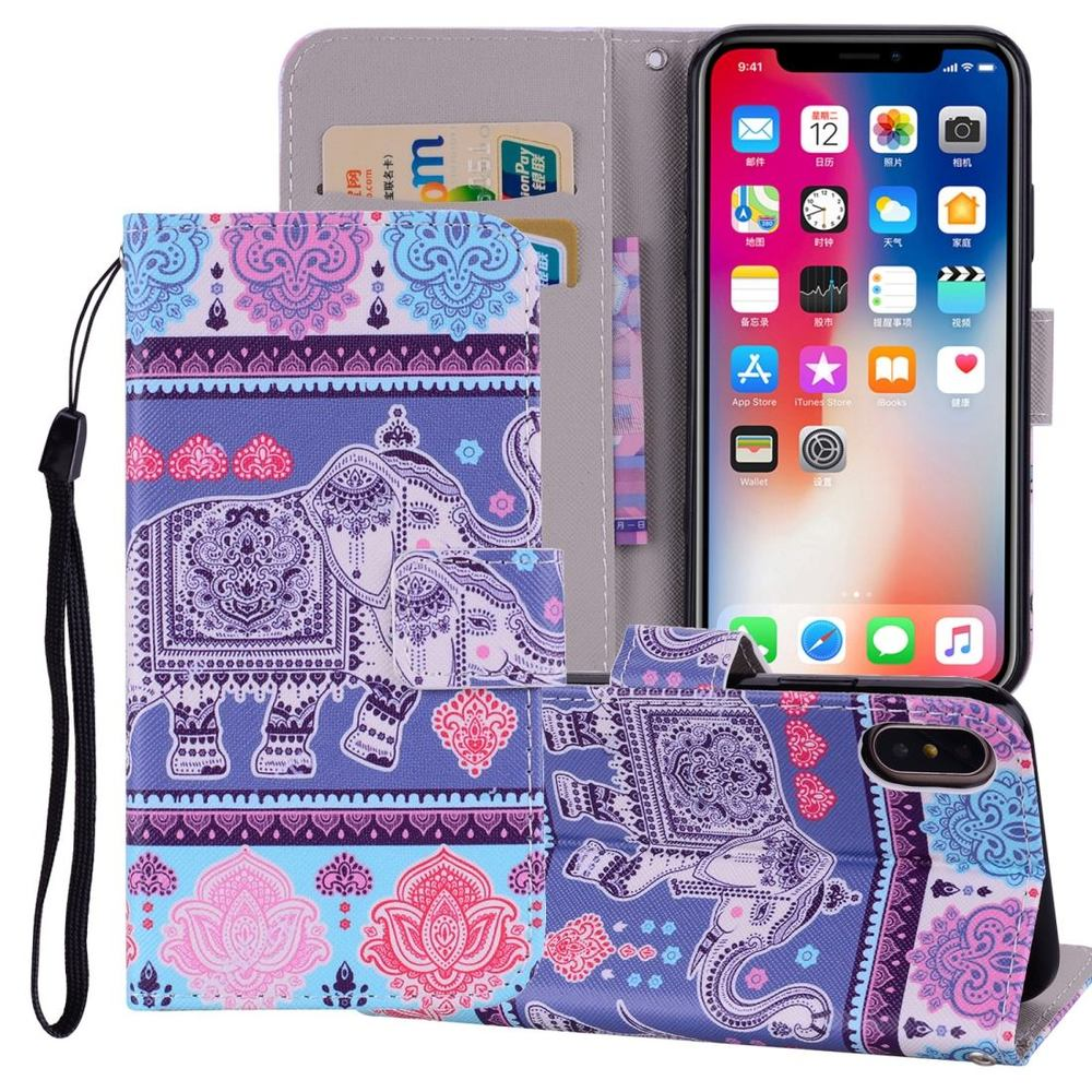 Elephant Pattern Wallet iPhone XS MAX Case