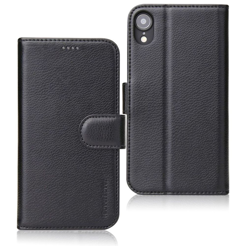 iPhone XR Case iCoverLover Black Genuine Cow Leather Wallet Folio Case, 3 Card Slots, 1 Cash Compartment