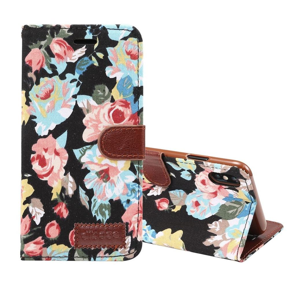 iPhone XS MAX Leather Wallet Case Black Flower Pattern Cover with Card Slots and Kickstand