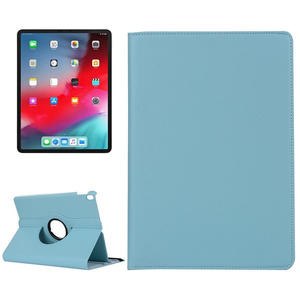 iPad Pro 12.9 Inch (2018) Case Baby Blue Lychee Texture PU Leather Folio Cover With 360 Degrees Rotation Holder