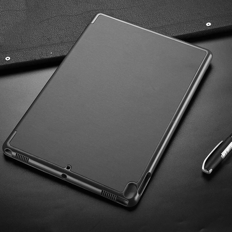 iPad Air 3 (2019) Case Grey Coloured PC + PU Leather 3-fold Holder Folio Protective Cover