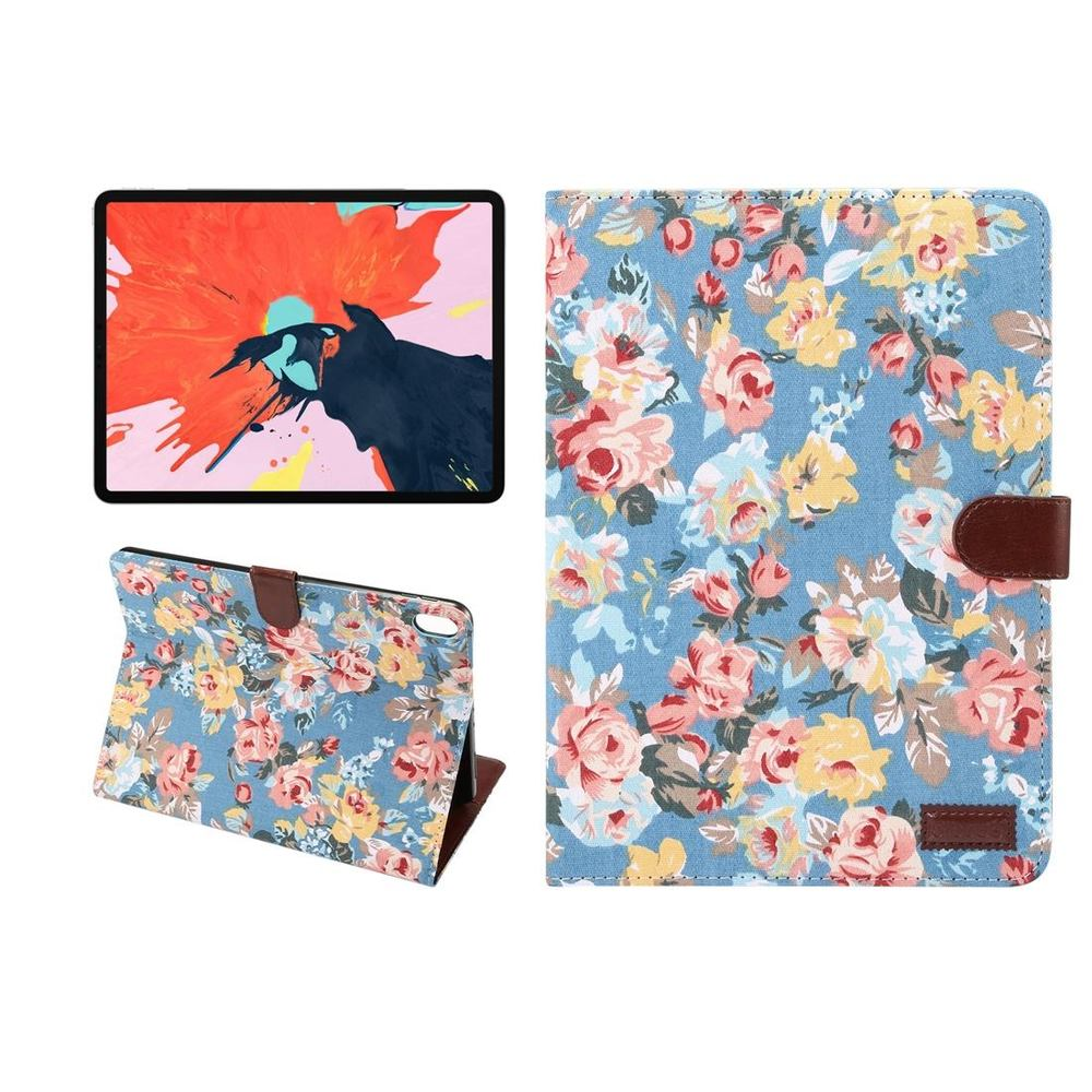 iPad Pro 11 Inch (2018) Case Blue Floral Cloth PU Leather Folio Cover with Kickstand & Sleep/Wake Function