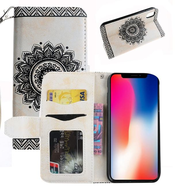 White Mandala Emboss Leather Wallet iPhone XS & X Case