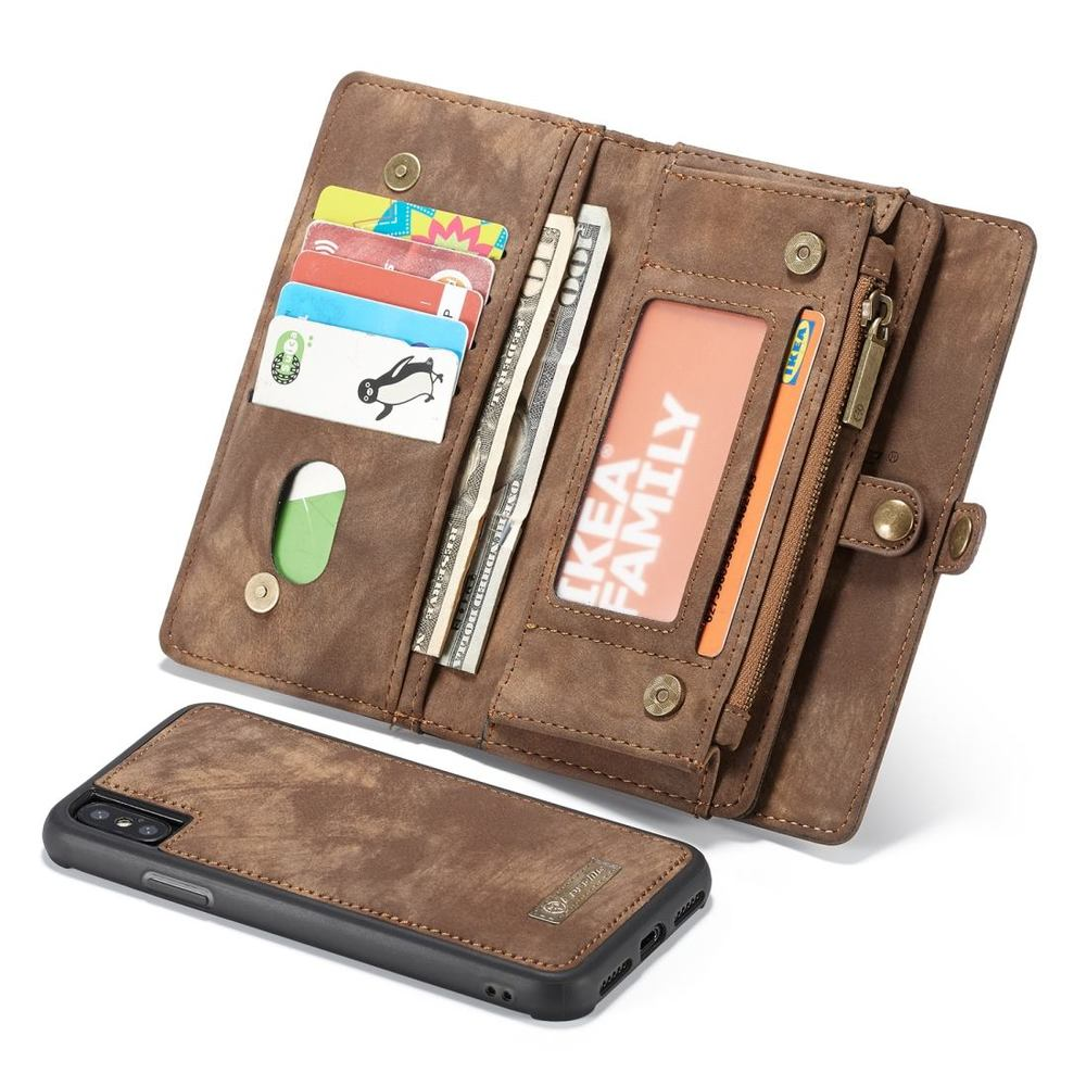 iPhone XR Case, Brown Detachable Multifunctional Leather Folio Cover, 11 Card Slots, 3 Cash Slot, 1 Zipper Wallet