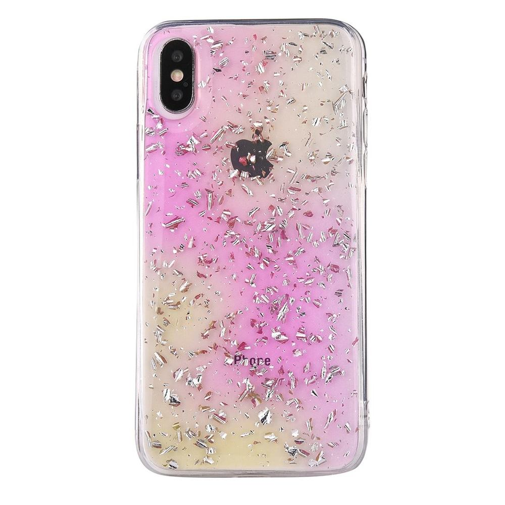 iPhone XS Max Case Pink and Yellow Gradient Gold Foil Pattern Shockproof Shell Cover
