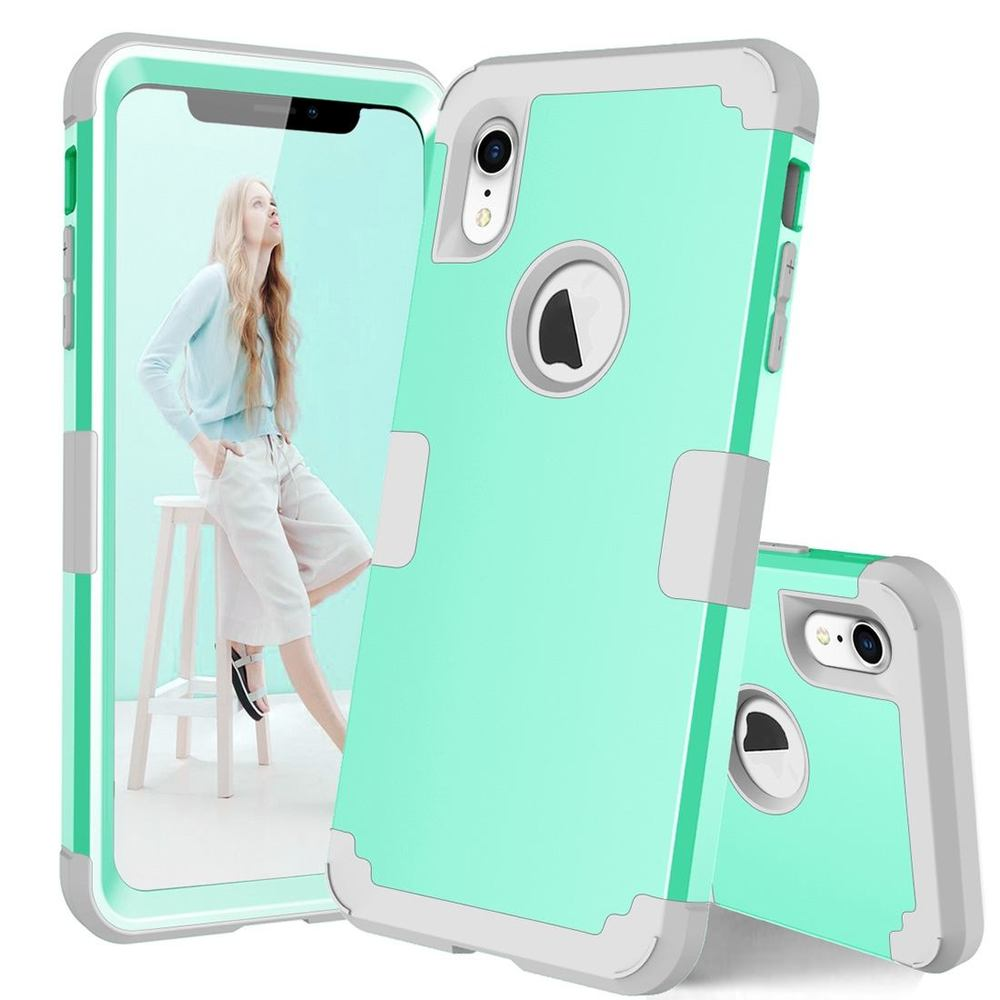iPhone XR Case Mint Green Dropproof PC & Silicone Protective Back Cover with Enhanced Grip & Scratch-Resistance
