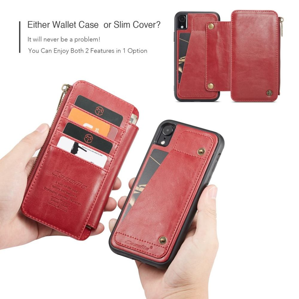iPhone XR Case Detachable Multifunctional Red Leather Folio Case with Card Slots. Zippered Wallet & Holder