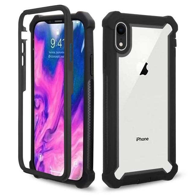 iPhone XR Case Black Four-corner Shockproof All-inclusive Transparent Space Cover with Improved Grip & Scratch-proof