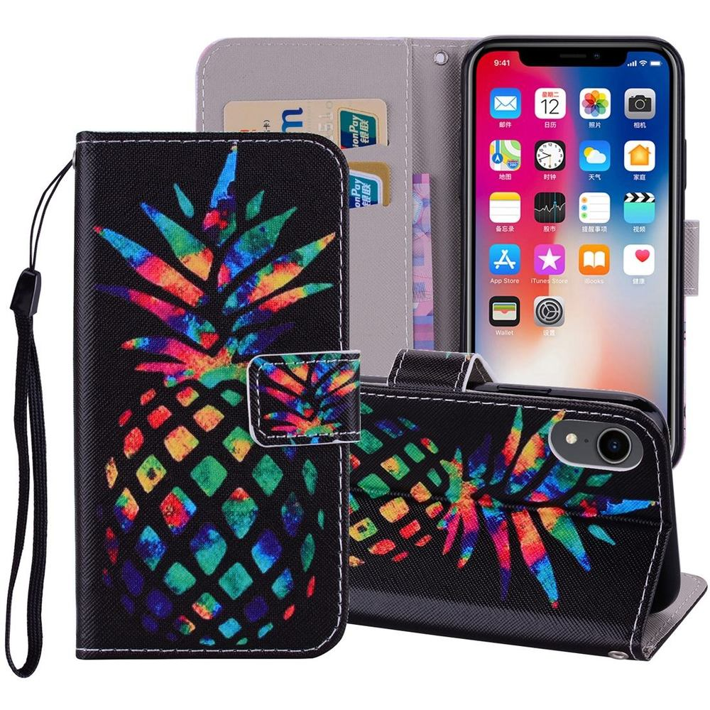 iPhone XR Case Colourful Pineapple Wallet Leather Cover with 2 Card Slots, Cash Pocket, Built-in Kickstand & Lanyard
