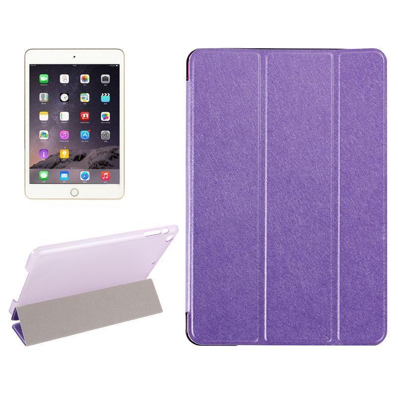 Purple Silk Textured 3-fold Leather Folio iPad Mini 4 Case