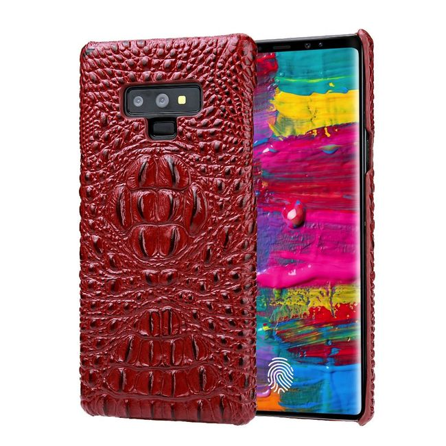 Samsung Galaxy Note 9 Case Red Genuine 3D Crocodile Leather Back Shell Cover