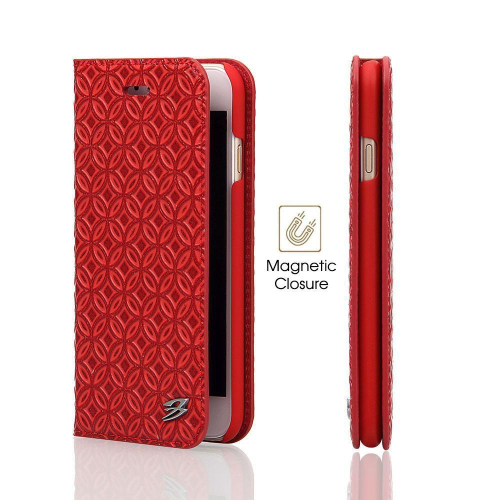 Red Fierre Shann Copper Coin Leather Wallet iPhone 8 PLUS & 7 PLUS Case