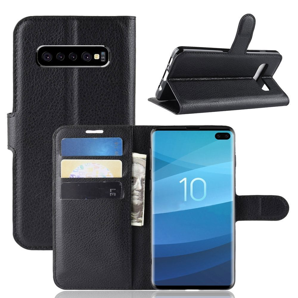 Samsung Galaxy S10 5G Black Lychee Texture Horizontal Flip Leather Cover With 3 Card Slots & Stand