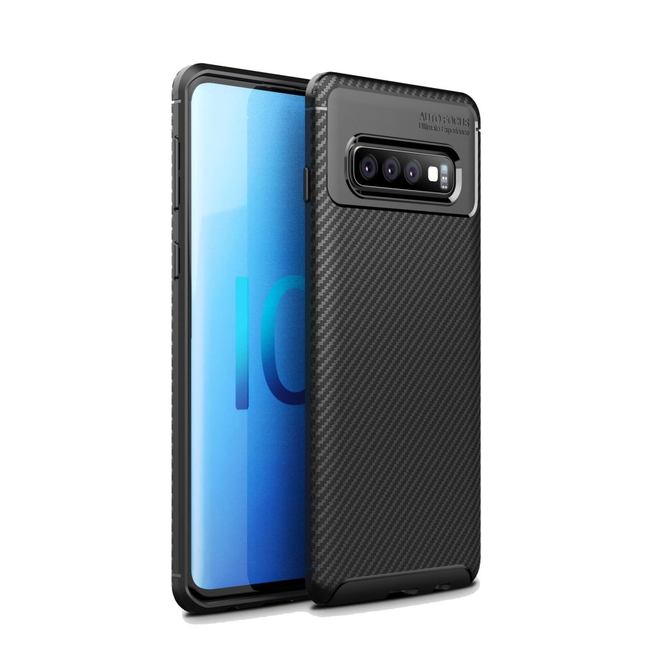 Samsung Galaxy S10 5G Case Black Carbon Fiber Texture Shockproof TPU Anti-Smudge Protective Cover