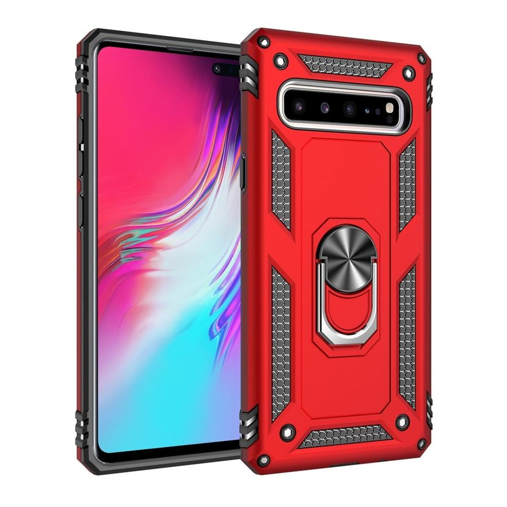 Samsung Galaxy S10 5G Case Red Armour Shockproof TPU + PC Cover with 360 Degree Rotation Holder