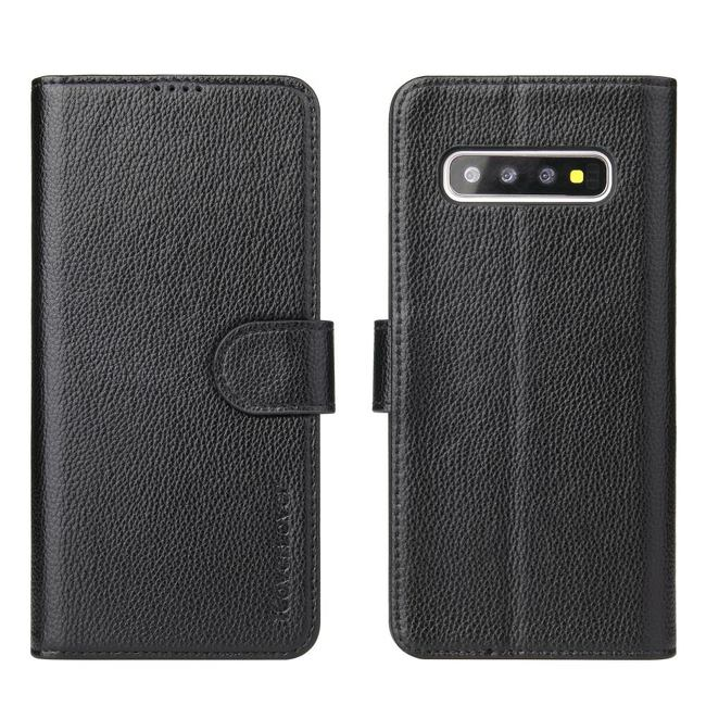 Samsung Galaxy S10 Case Black iCoverLover Genuine Cow Leather Wallet,3 Card Slots,1 Cash Slot,Magnetic Flap & Kickstand
