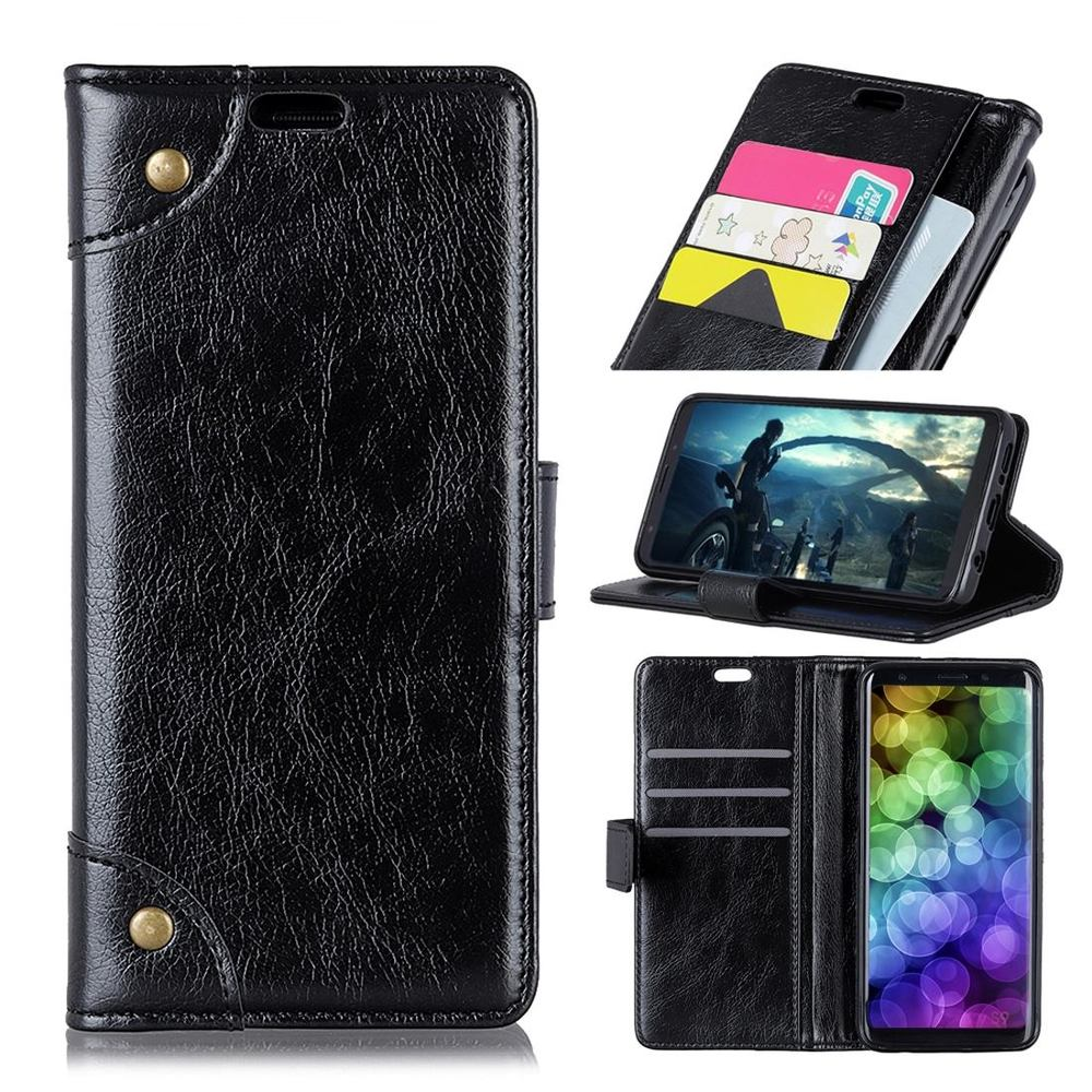 Samsung Galaxy S10 Plus Case Black Copper Buckle Nappa Texture PU Leather Wallet Cover with Card Slots & Kickstand