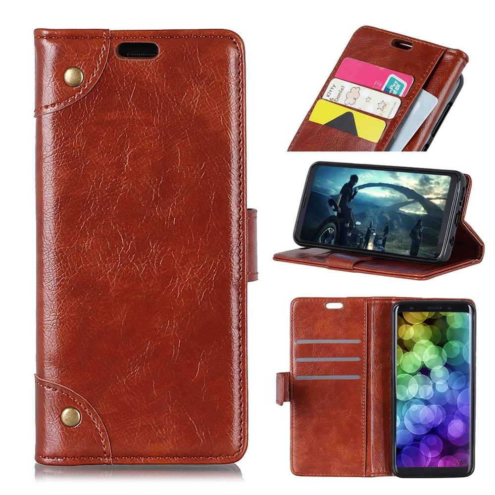 Samsung Galaxy S10 Case Brown Copper Buckle Nappa Texture PU Leather Wallet Cover with Card Slots & Kickstand