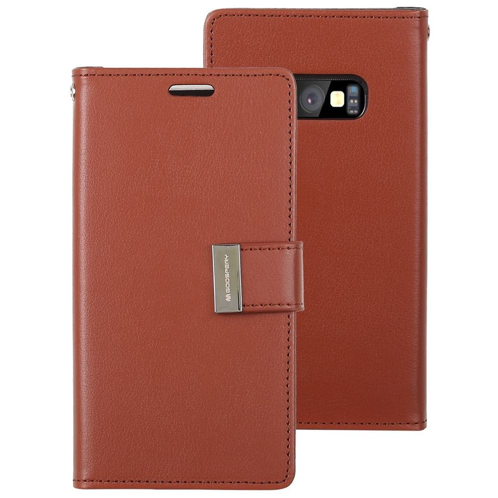 Samsung Galaxy S10e Case Brown Wild Horse Texture PU Leather & TPU Folio Cover with Card Slots & Kickstand