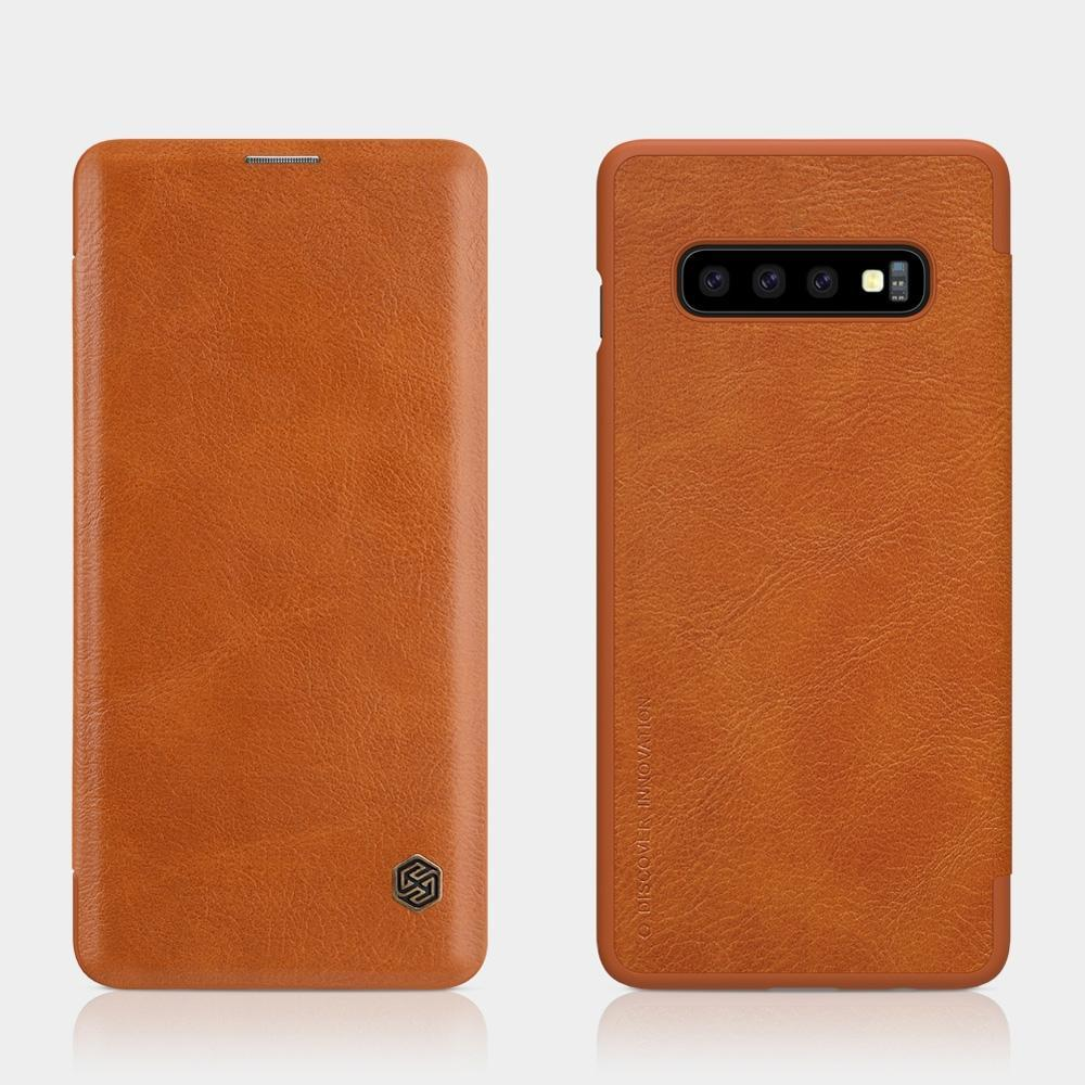 Samsung Galaxy S10+ Plus Case Brown Wild Horse Texture PU Leather Folio Cover with 1 Card Slot and Ultra Slim