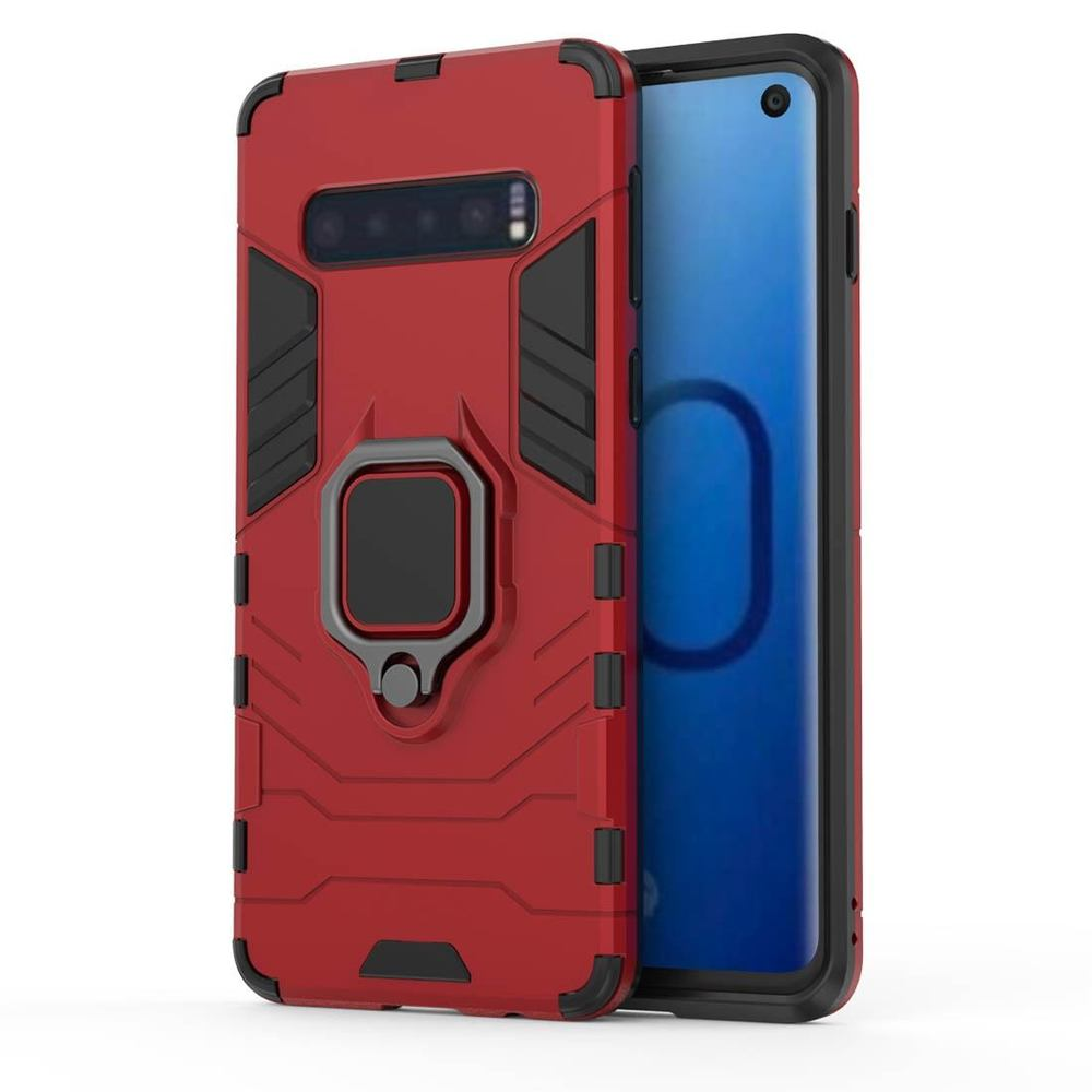 Samsung Galaxy S10 Case Red Armour PC & TPU Back Shell with Magnetic Ring Holder & Shockproof Material