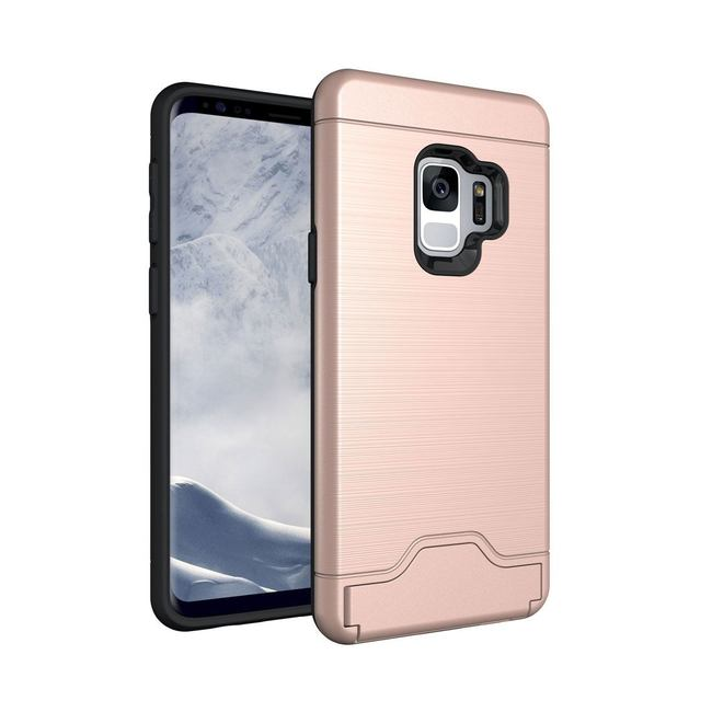 Rose Gold Brushed Texture Samsung Galaxy S9 Protective Back Case with Card Holder