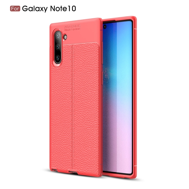 Samsung Galaxy Note 10 Case Red Lychee Texture TPU Shock-Proof Protective Back Shell
