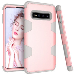 Samsung Galaxy S10 Plus Case Rose Gold & Grey Armour Silicone & PC Shockproof Back Cover