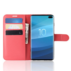 Samsung Galaxy S10 5G Red Lychee Texture Horizontal Flip Leather Cover With 3 Card Slots & Stand | Free Delivery across Australia
