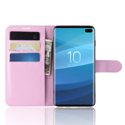 Samsung Galaxy S10 5G Pink Lychee Texture Horizontal Flip Leather Cover With 3 Card Slots & Stand | Free Delivery across Australia