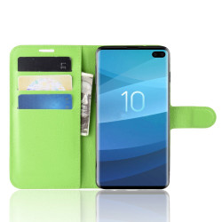 Samsung Galaxy S10 5G Green Lychee Texture Horizontal Flip Leather Cover With 3 Card Slots & Stand | Free Delivery across Australia