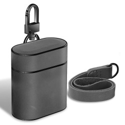 Apple AirPods 1/2 Case Grey Genuine Leather Protective Wireless Earphones Box with Shockproof, Anti Scratch, Strap   Free Delivery across Australia