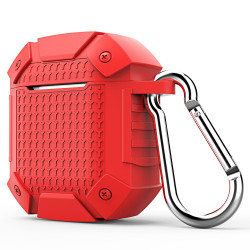 Apple AirPods 1/2 Case Red Armor Silicone Protective Shockproof Cover with Scratch-resistance, Carabiner and Anti-Slip   Free Delivery across Australia