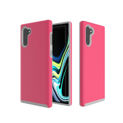 Anti-slip Armor Texture TPU + PC Case for Galaxy Note10(Rose red)