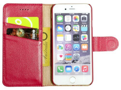 iPhone 6S & 6 Case Pink Fashion Cowhide Genuine Leather Wallet with Card and Cash Compartments | Genuine Leather iPhone 6 & 6S Covers Cases | Genuine Leather iPhone 6 & 6S Covers