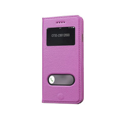 iPhone 6S & 6 Case Pink Fashion Cowhide Genuine Leather Cover with Caller Display Window and Kickstand| Leather iPhone 6S & 6 Cases | Leather iPhone 6 & 6S Covers | iCoverLover