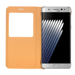 Gold Litchi Leather Caller ID Display Samsung Galaxy Note FE Case | Leather Samsung Galaxy Note FE Cases | Leather Samsung Galaxy Note FE Covers | iCoverLover