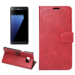 Red Horse Texture Wallet Samsung Galaxy Note FE Case   Leather Samsung Galaxy Note FE Cases   Leather Samsung Galaxy Note FE Covers   iCoverLover