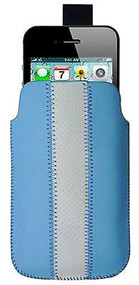 Leather iPhone Pouch | Striped Blue Leather iPhone Pouch | Smartphone Pouch | iCoverLover