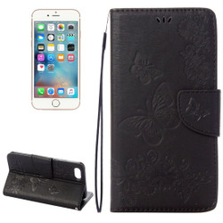 Black Butterflies Emboss Leather Wallet iPhone 8 & 7 Case | iPhone 8 & 7 Leather Cases | iPhone 8 & 7 Leather Covers | iCoverLover