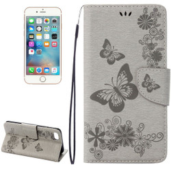 Grey Butterflies Emboss Leather Wallet iPhone 8 & 7 Case   iPhone 8 & 7 Leather Cases   iPhone 8 & 7 Leather Covers   iCoverLover