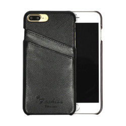 iPhone 8 Plus & iPhone 7 Plus Case Black Genuine Leather Fashion Cover With 2 Exterior Card Slots | Genuine Leather iPhone 8 PLUS & 7 PLUS Cases | Genuine Leather iPhone 8 PLUS & 7 PLUS Covers | iCoverLover